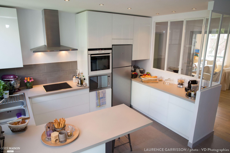 Epure et design pour une cuisine verri re neuilly - Cuisine ouverte avec verriere ...