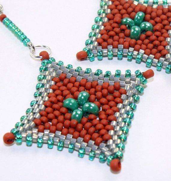 Beaded earrings / peyote stitch bead woven by rivervalleydesign, $15.00