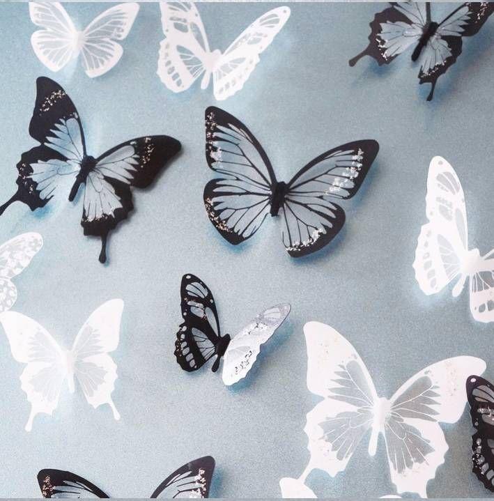 3d Vlinders Zwart Wit Zwart Wit Muurstickers Stickers