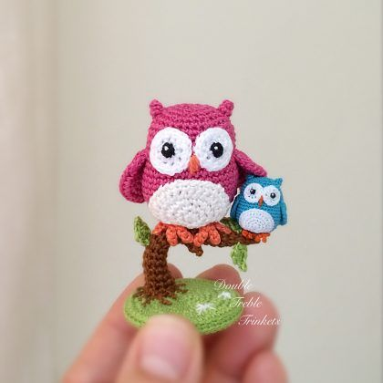 Crochet Cute Little Owls with Free Pattern   Blumen aus Knöpfen ...