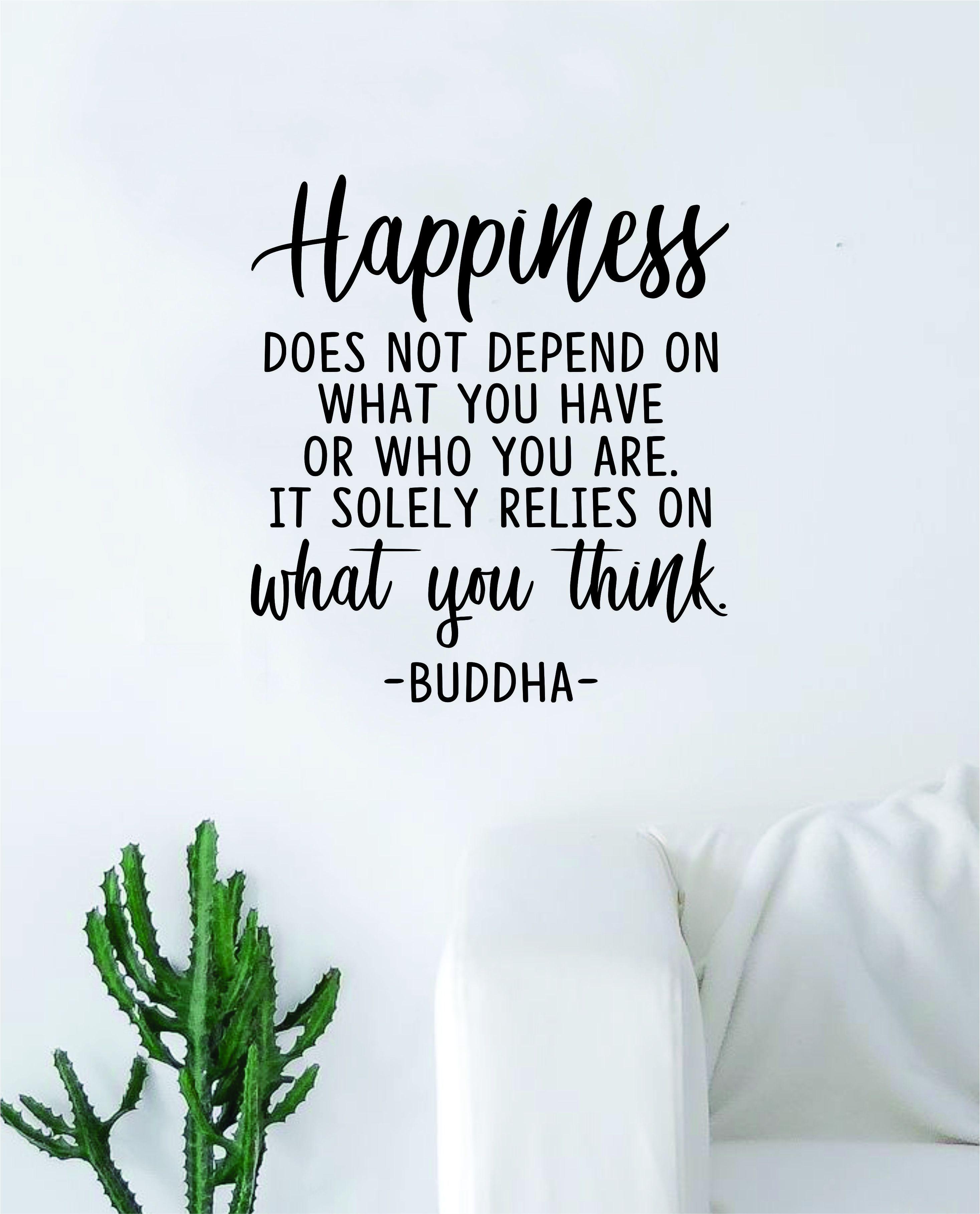 Buddha Happiness v3 Quote Decal Sticker Wall Vinyl Art Decor Bedroom Living Room Namaste Yoga Mandala Om Meditate Zen Lotus Inspirational Soul Love Peace - black
