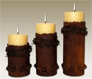 Barbed Wired Set of 3 Candle Holder