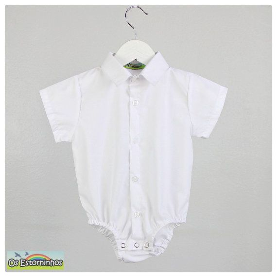 c683236e2 Baby boy shirt bodysuit - Boys short sleeve cotton White shirt ...