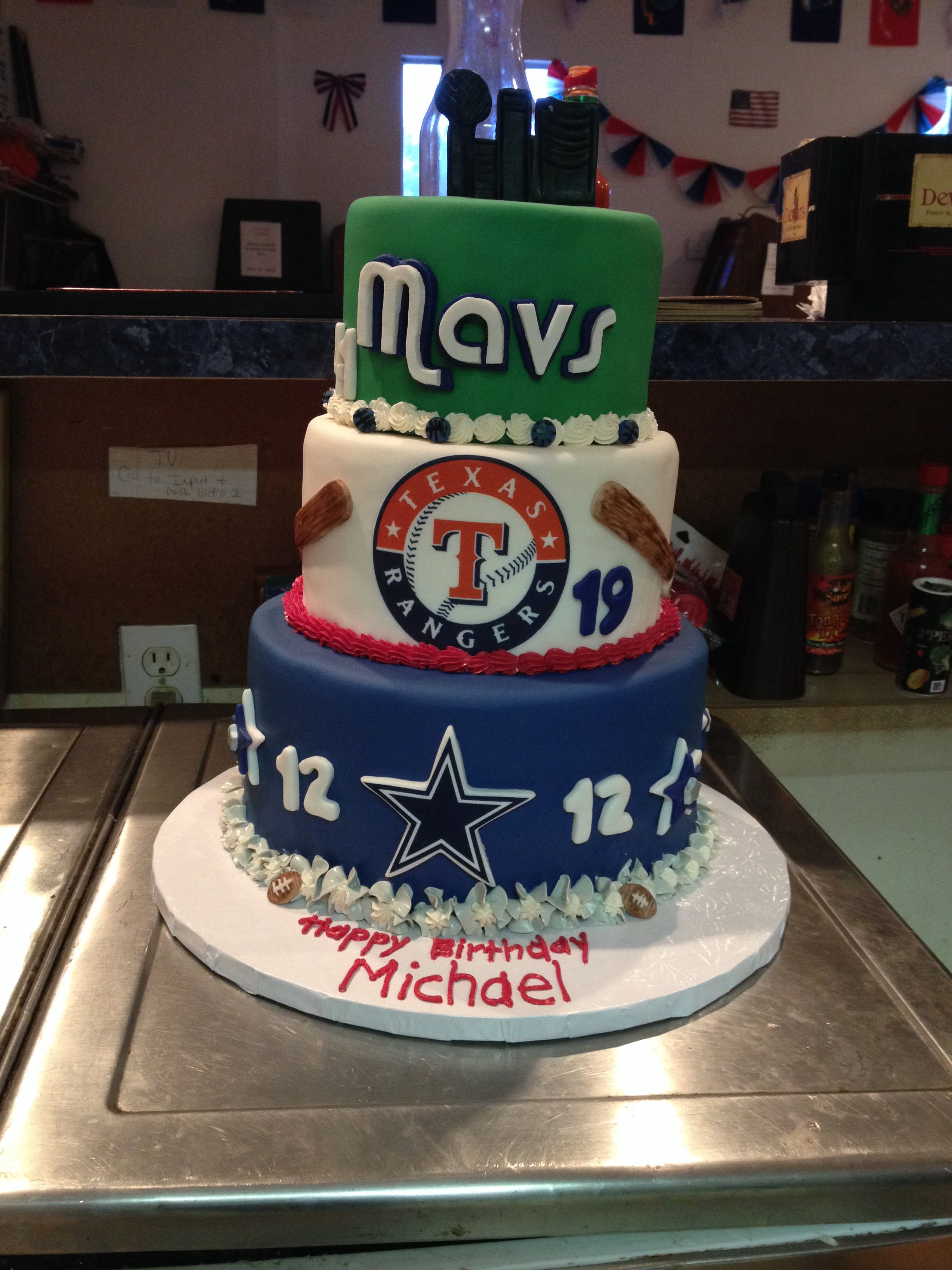Dallas Cowboys Dallas Mavericks Texas Rangers Cakes