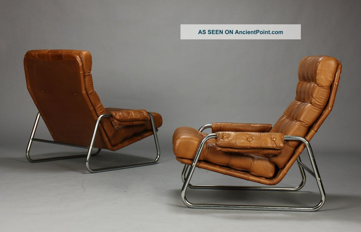 Pair Of Danish Leather Lounge Chairs With Sculpted Metal Frames Midcentury Mcm Post 1950 Photo