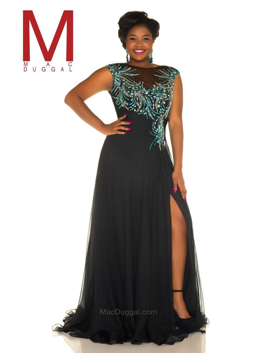 f3a18d26d99 Mac Duggal Fabulouss 65042F is a plus size prom gown with multicolor  beading on sheer bodice and high side slit.