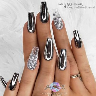 "� TheGlitterNail on Instagram: "" Black with Chrome Effect and Silver Glitter Ombre on Coffin Nails � • � Nail Artist: @_justfakeit_ � Follow her for more gorgeous nail…"""