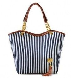 WAWO Simplified Style Tote Elegant Shoulder Bag Gold Chain Metal Tassel Handbag Canvas Purse-Blue:White