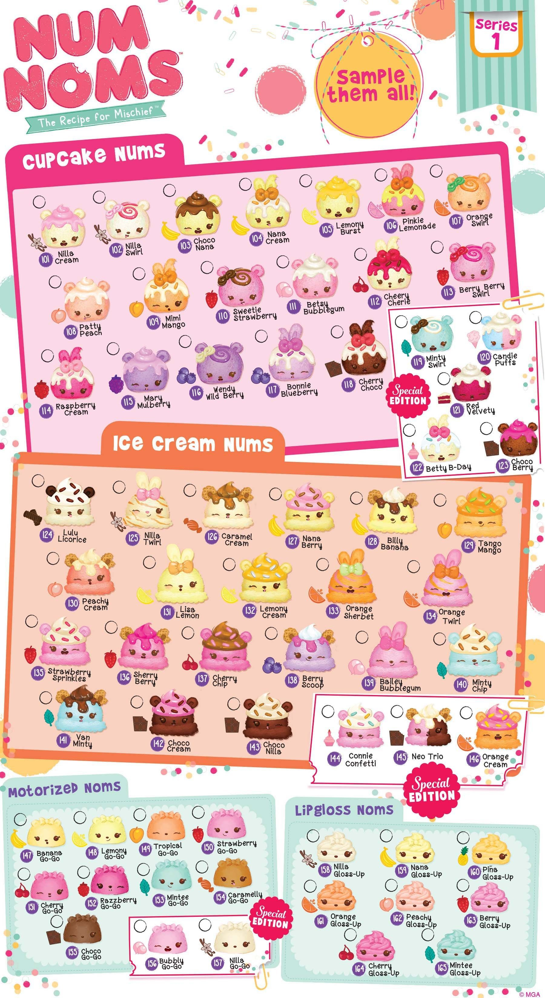 Num Noms Series 1 Collector Guide Checklist Pencil Toppers Slime Toy