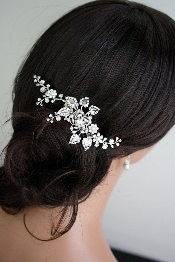 Wedding Hair Comb Crystal Bridal Comb Silver Floral Hair Comb Bridal Hair Accessories Crystal Wedding Headpiece Wedding Hair Piece