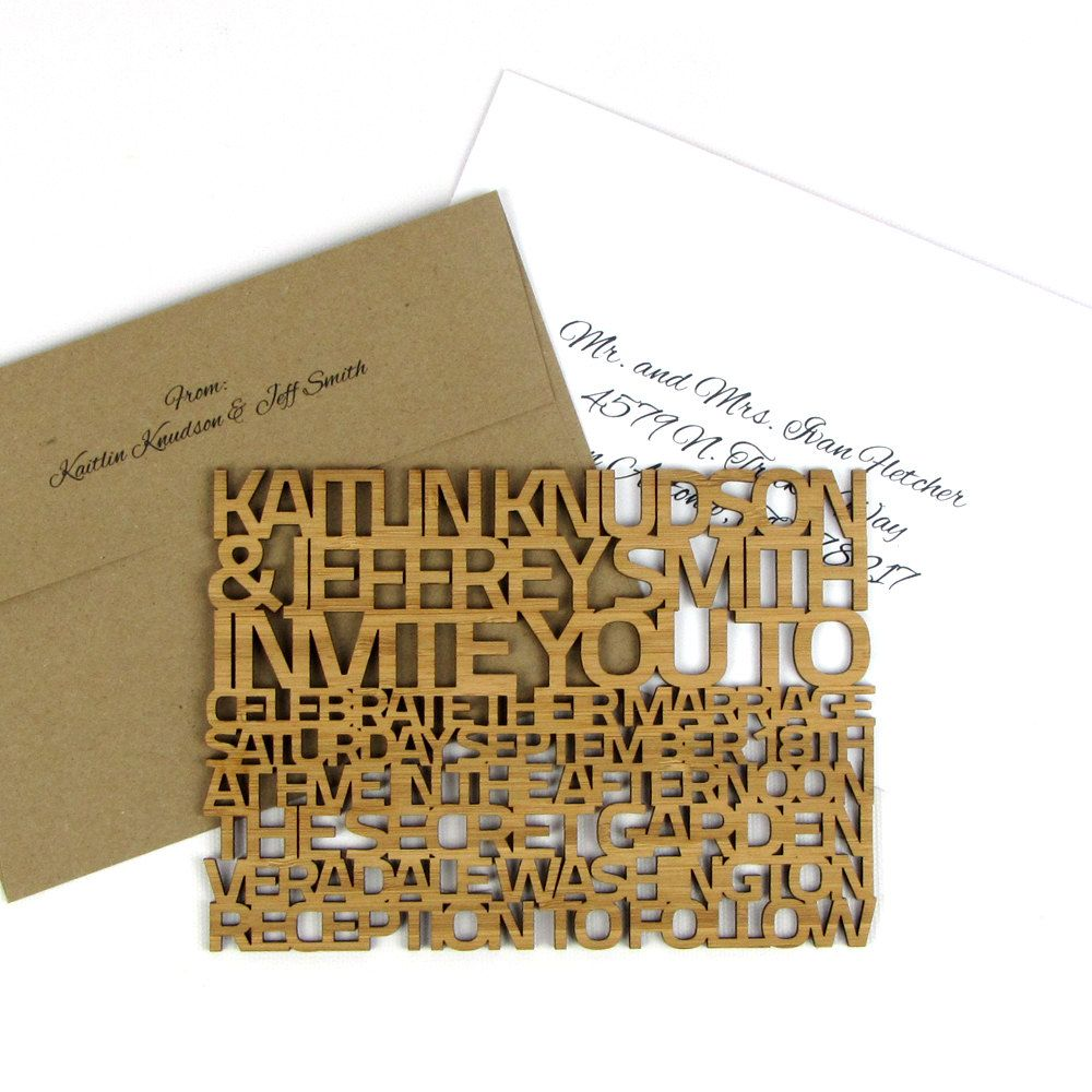 Solid Wood Wedding Invitation Sample - Extra Thick \