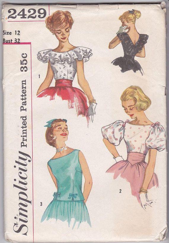 SALE 50s Debutante Blouse Scoop Neckline Puff Sleeves Sleeveless ...