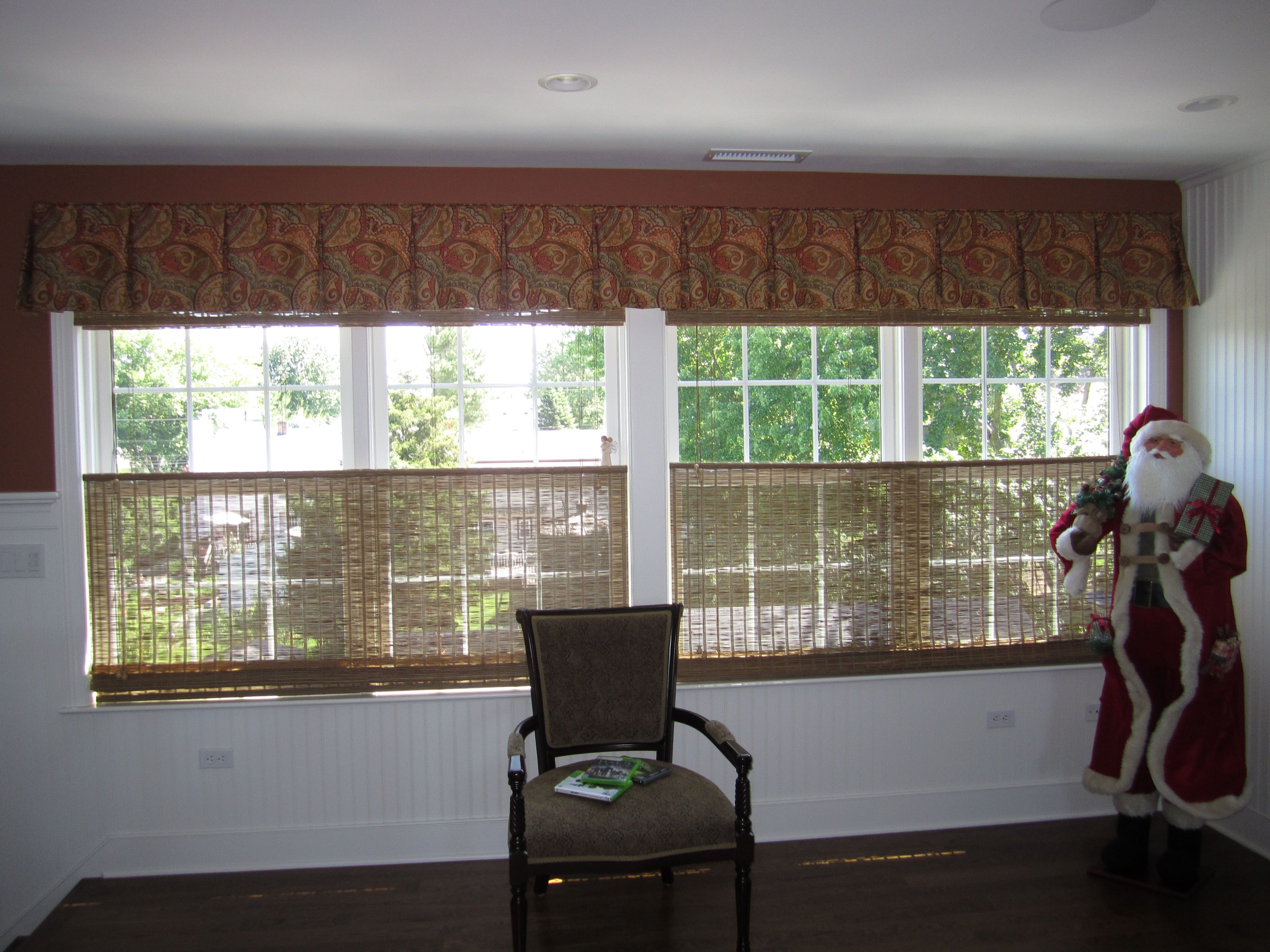 Box Pleated Valance Over Bottoms Up Tops Down Woven Wood Shades