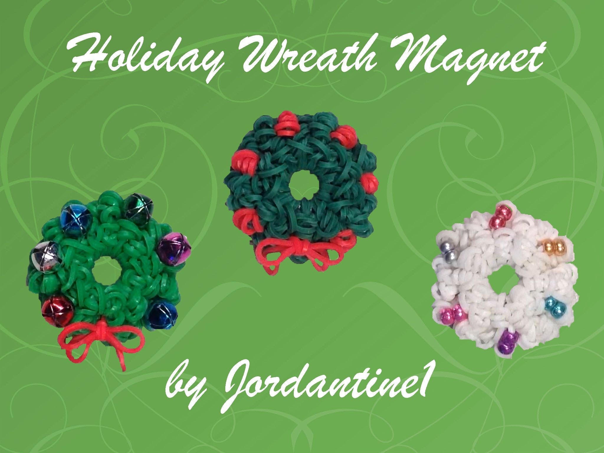 New Holiday Wreath Magnet Charm Loomless Hook Only Christmas tutorial by Jordantine1.