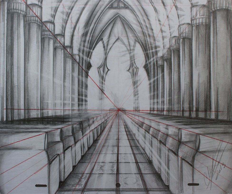 one point perspective drawings - Google Search   One point ...