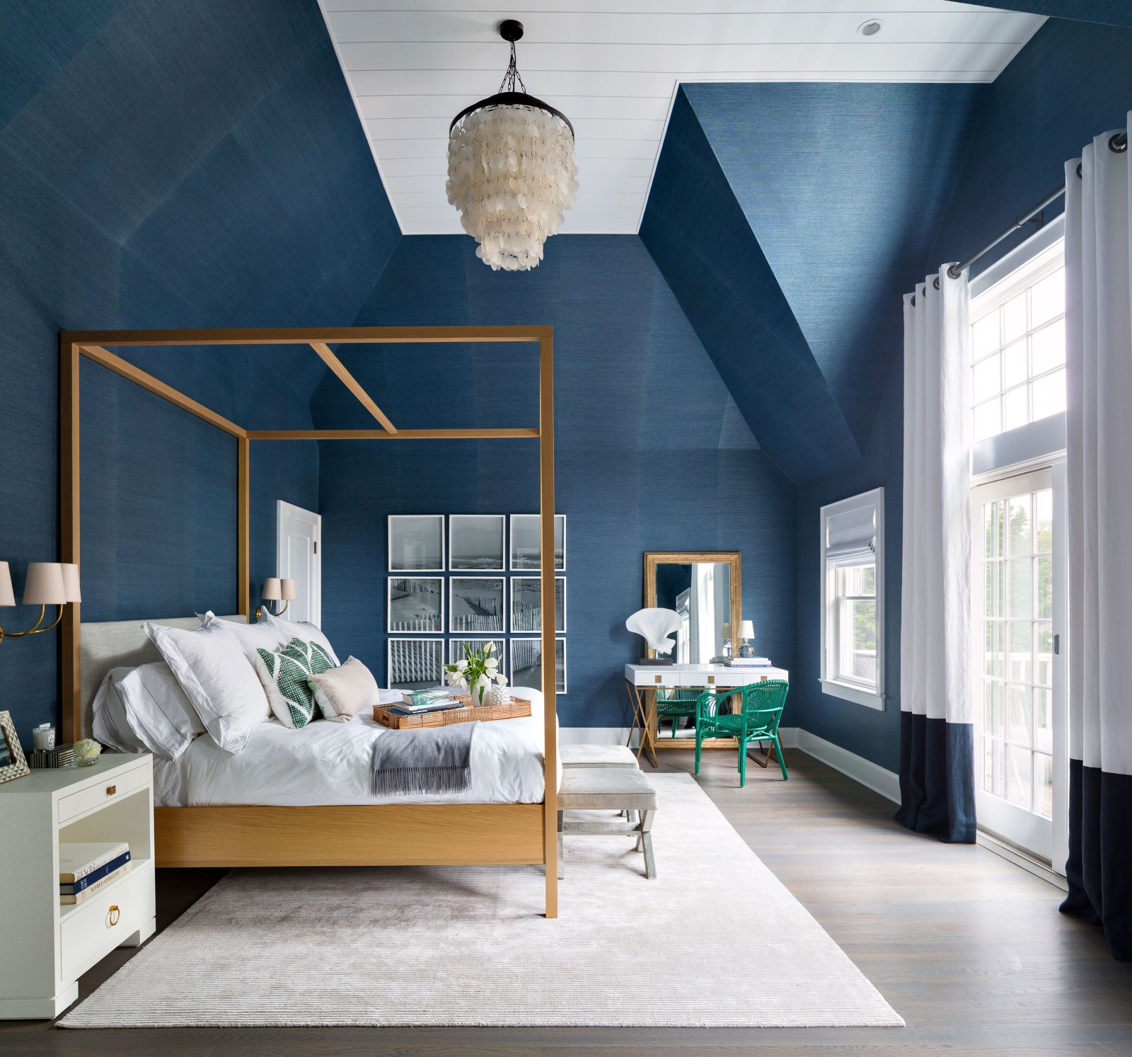 Navy Grasscloth Wallpaper And Gold Rivets Mirror: HOUSE TOUR: A Bland Summer Home Is Transformed Into A