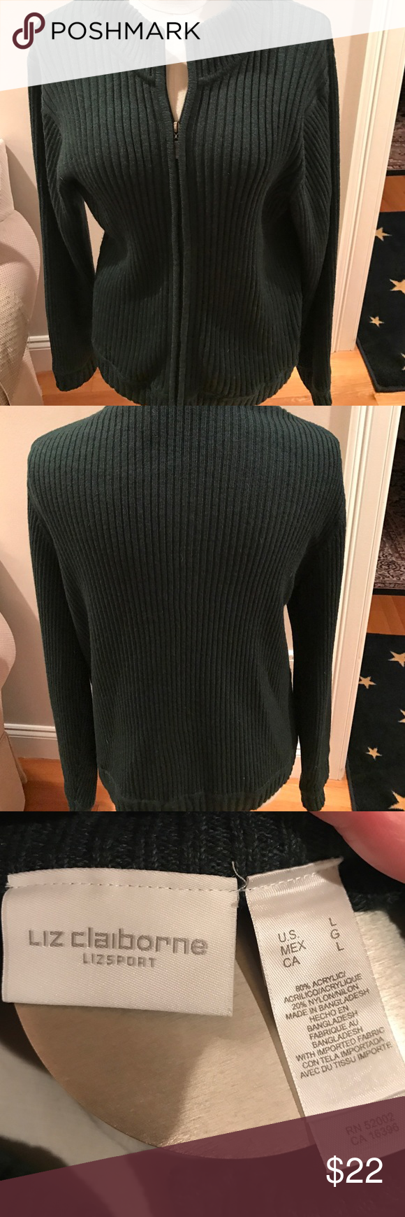 """Liz Claiborne Lizsport Hunter Green Size L Sweater Liz Claiborne Lizsport 80% Acrylic, 20% Nylon Hunter Green Sweater with Zipper Closure. Approx 21"""" across bust and 25"""" from collar to bottom of hem. Liz Claiborne Sweaters Cardigans"""