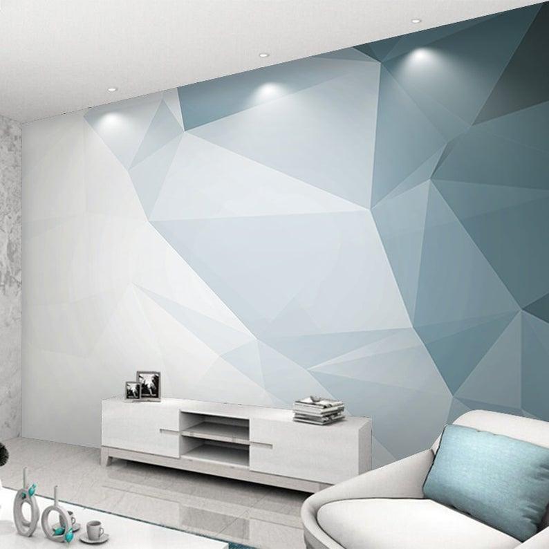 Modern Geometric Stereoscopic Wallpaper Wall Mural Imaginary Etsy Bedroom Wall Paint Geometric Wall Paint Bedroom Wall