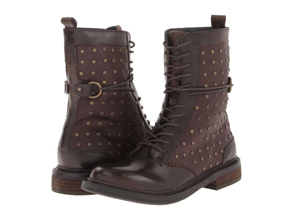 Womens Boots Calvin Klein Jeans Cassey Espresso/Dark Brown Black Waxy Linen/Leather