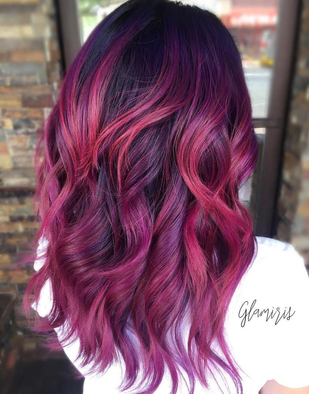 Picture of black and magenta balayage hair - 50 Lovely Long Shag Haircuts For Effortless Stylish Looks