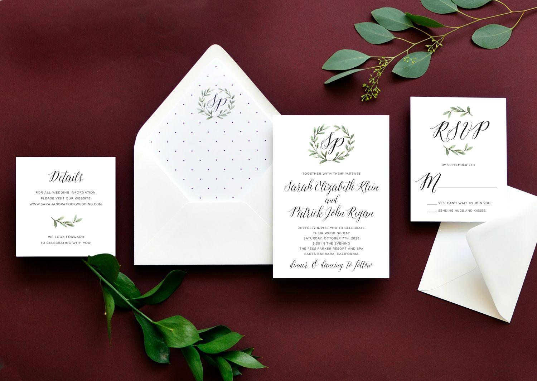 Blissful Wreath Wedding Invitation A Watercolor Laurel Of Greenery