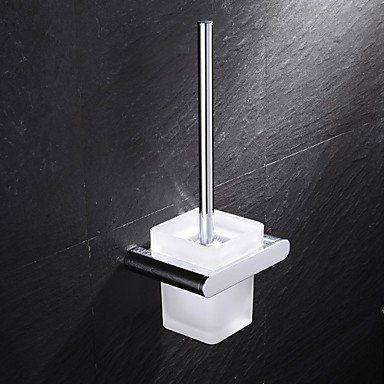 Lana Contemporary Chrome Finish Brass And Stainless Steel Wall Mounted Toilet Brush Holder With Glass Cup Con Wall Mounted Toilet Cleaning Walls Steel Wall