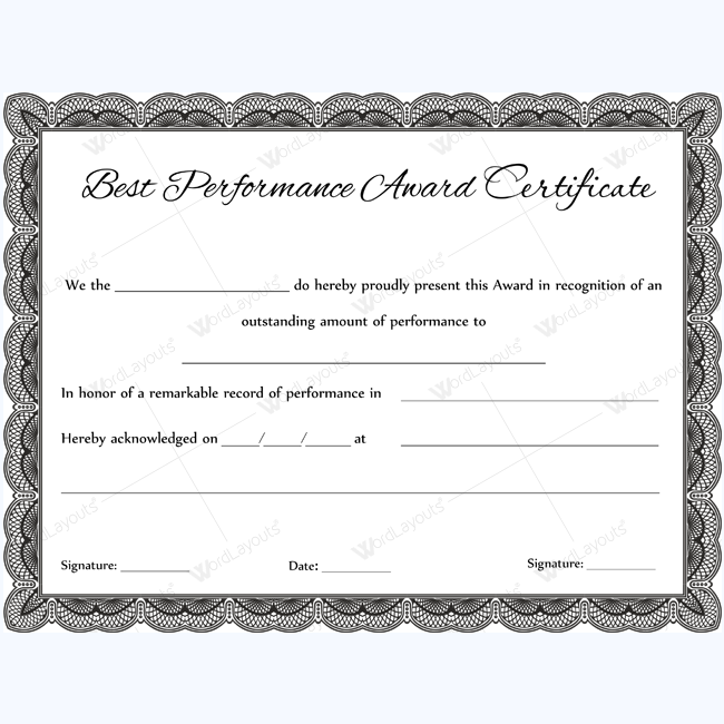 Formal Best Performance Certificate Template award – Performance Certificate Template