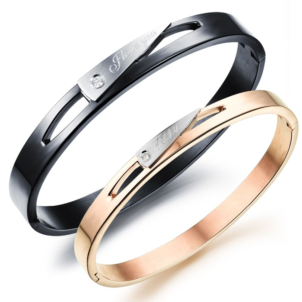 Simple hollow carter love open bangle rose gold plating black couple