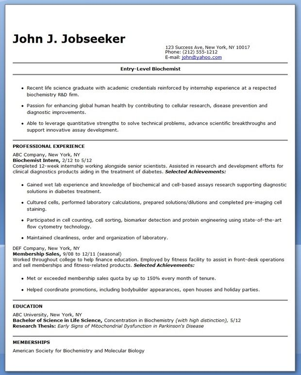 entry level biochemistry resume sample creative resume design