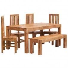 Toko Light Mango Furniture Ft Dining Table Bench Wooden Chair - 6ft dining table and chairs