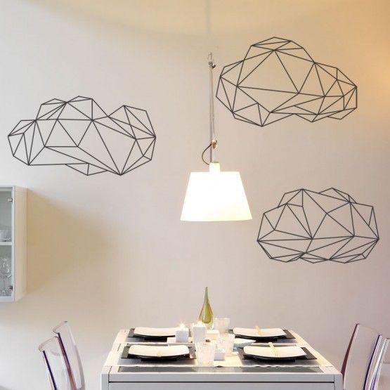 stickers nuages origami sticker nature pinterest. Black Bedroom Furniture Sets. Home Design Ideas