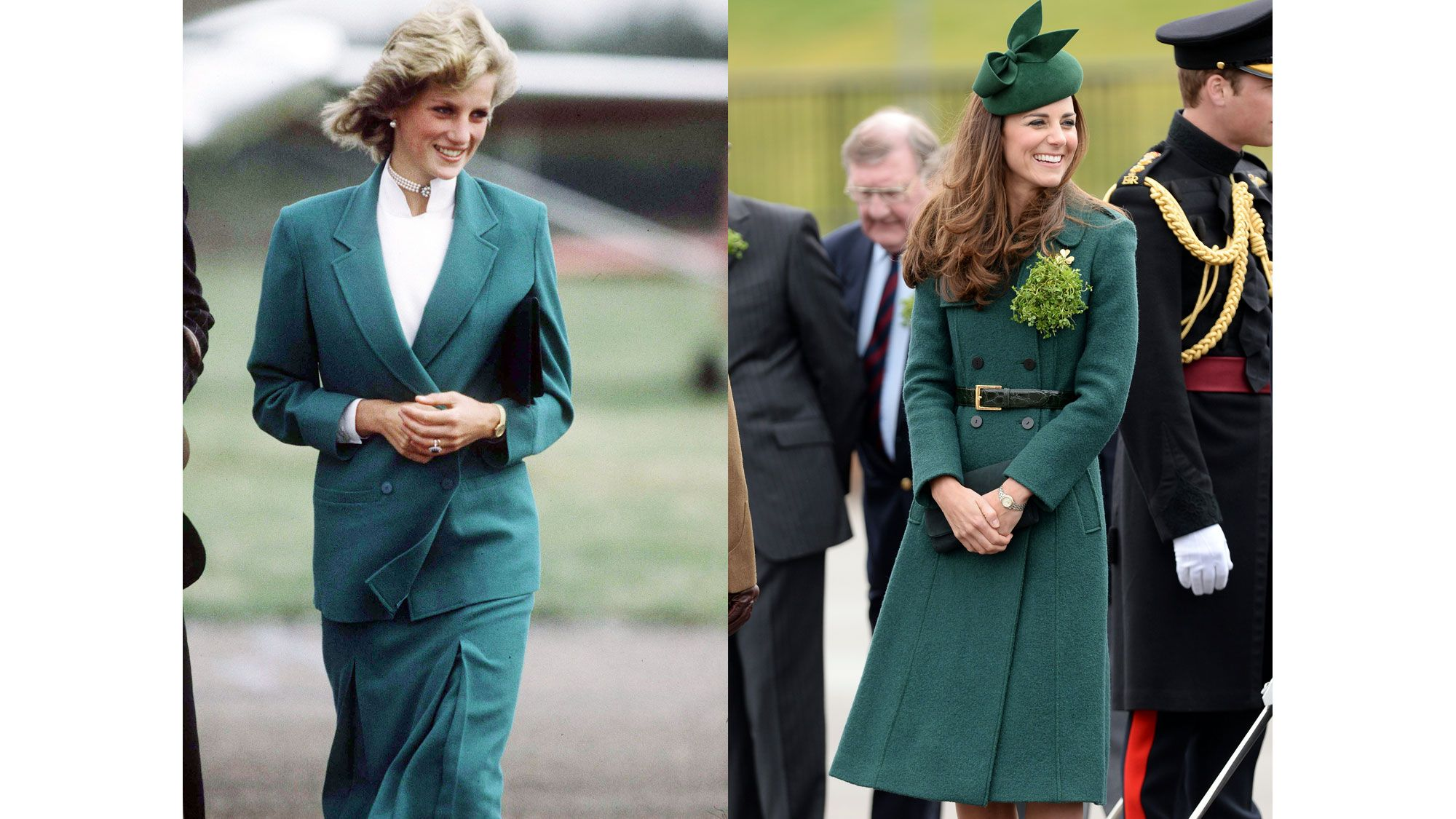 Diana in a Jasper Conran suit in 1983; Kate at a St. Patrick's Day parade in 2014.   - ELLE.com