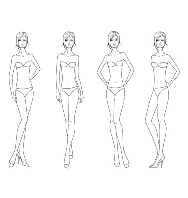 Women Fashion Figure Vector 1359679 By Pushinka On Vectorstock