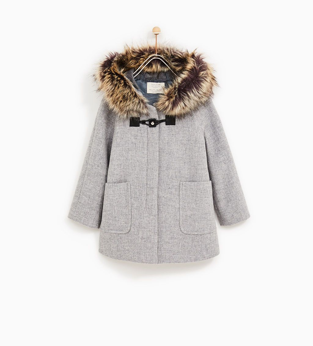 3cc45dbb0a9f DUFFLE COAT WITH FAUX FUR HOOD-COATS-GIRL