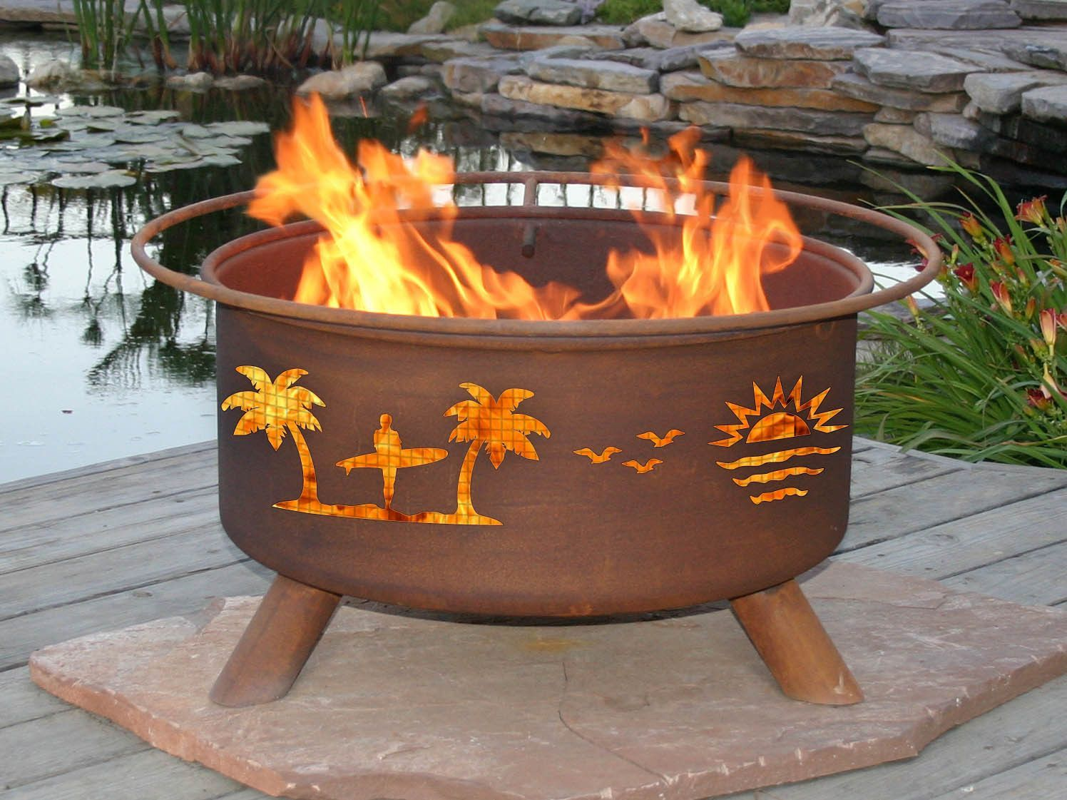 Pacific Coast Fire Pit Portable Steel Rust Patina Finish with Safety Ring