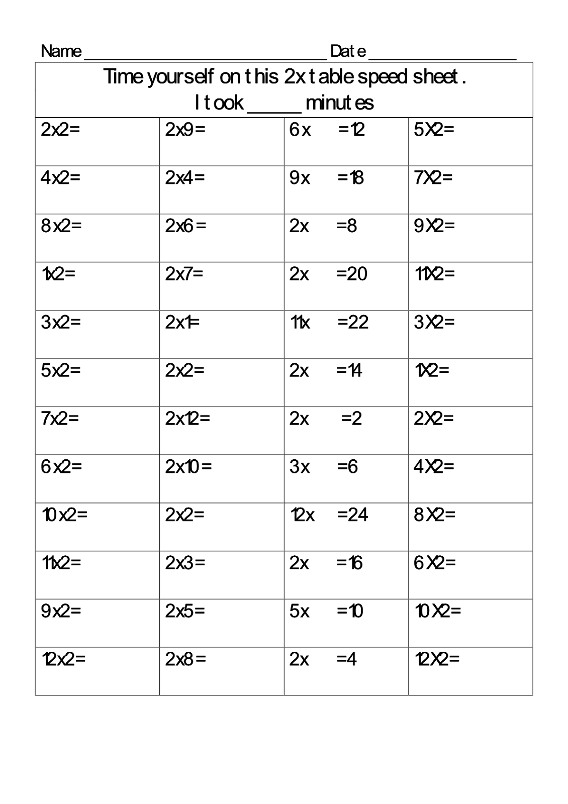 2 Times Table Worksheets Simple