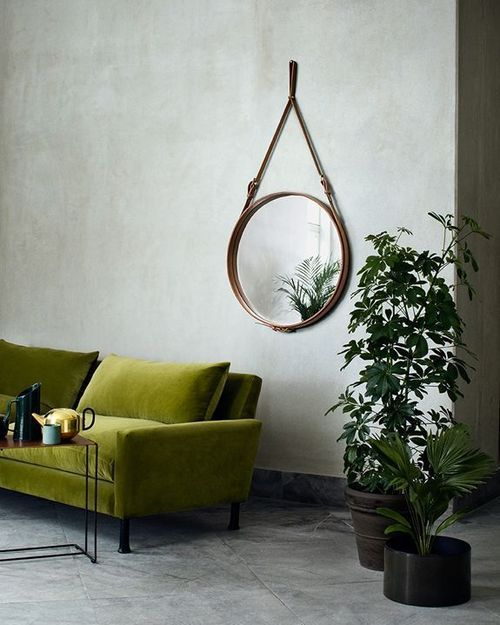 Sectional Sofa Olive Green: Green Sofa + Grey Walls
