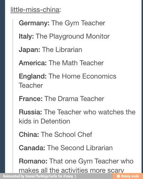 Hetalia humor. Those gym classes though << can I just say I never want to see what happens to misbehaving students in detention?