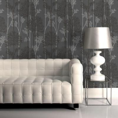 Graham & Brown 56 sq. ft. Charcoal/Silver Eternal Wallpaper - 33-290 - The Home Depot