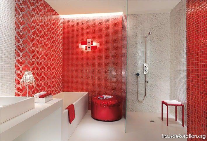 Rot weiße Herzen Mosaikfliesen Bad
