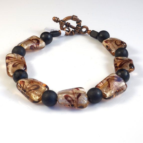 Women's Black and Bronze Beaded Bracelet by DungleBees on Etsy