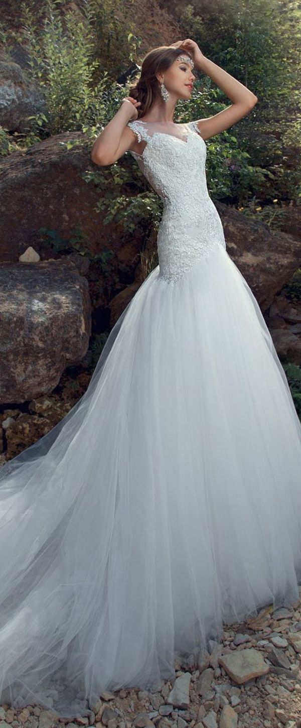 Elegant Tulle Jewel Neckline Mermaid Wedding Dress With Lace ...
