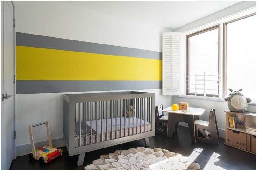 Bilder Babyzimmer Deko Junge Wand Streifen Grau Gelb