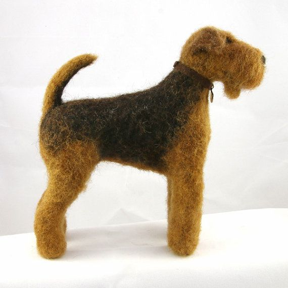 Hand Felted Airedale Terrier By Welshiefelts On Etsy 45 00 Hand Felted Airedale Terrier Needle Felted Animals