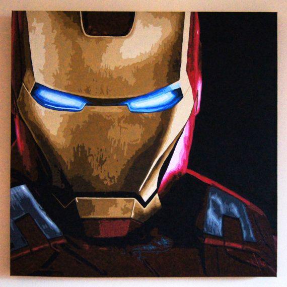 Iron Man Tony Stark Acrylic Painting On Box Canvas By Gatsbyandjim