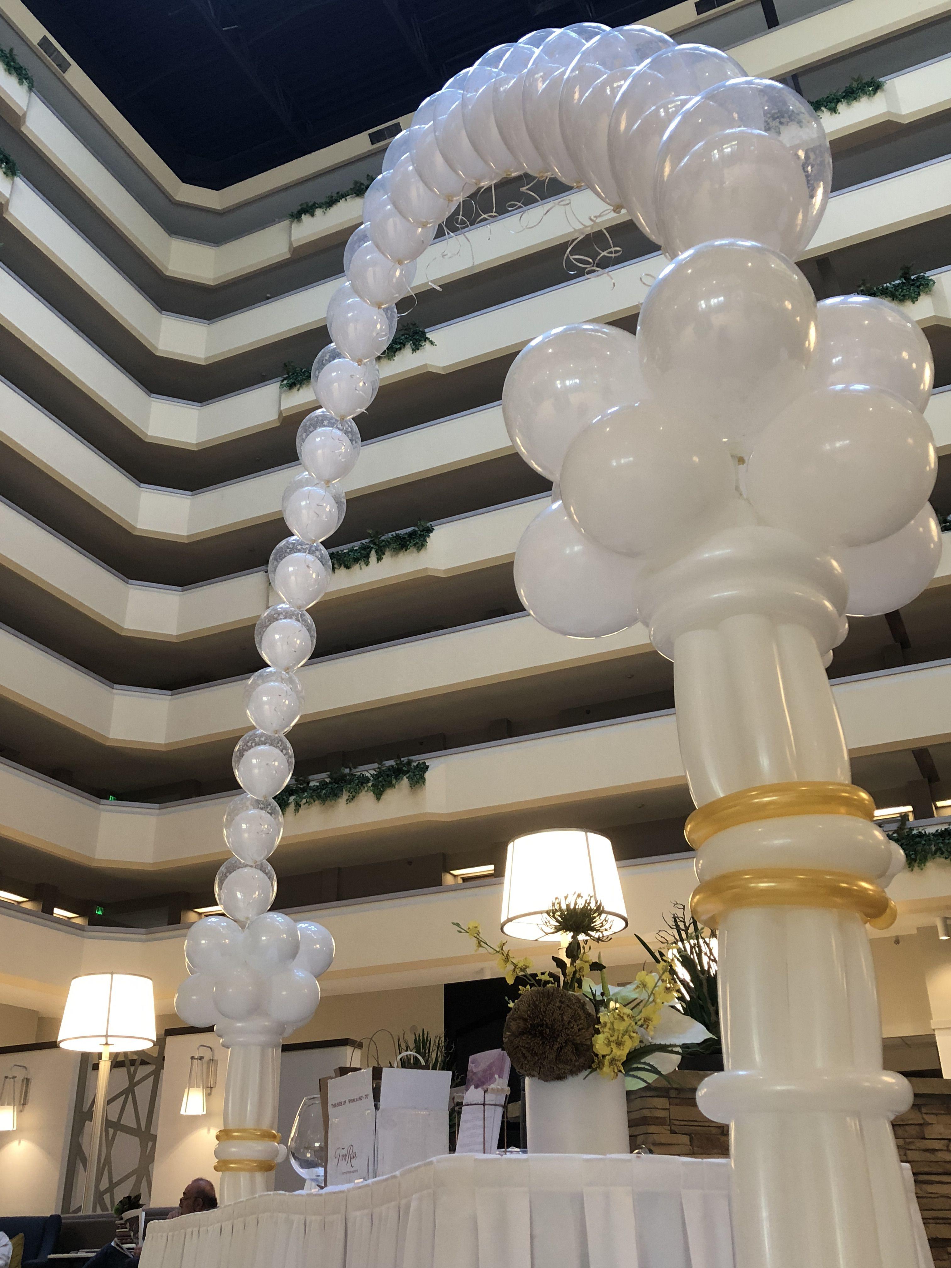 Wedding decoration ideas balloons  Custom Wedding decor two Roman columns with a double bubble string