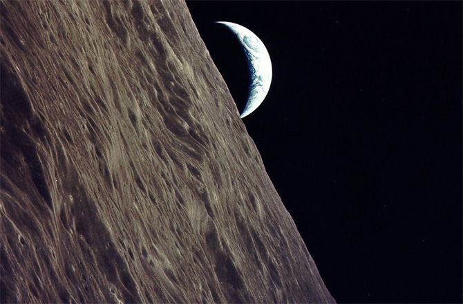 Earth-rise as seen by the Apollo 17 crew while in orbit around the moon in 1972