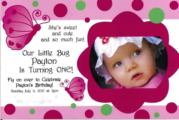 Pink Birthday Invitation Quotes For Baby Girl