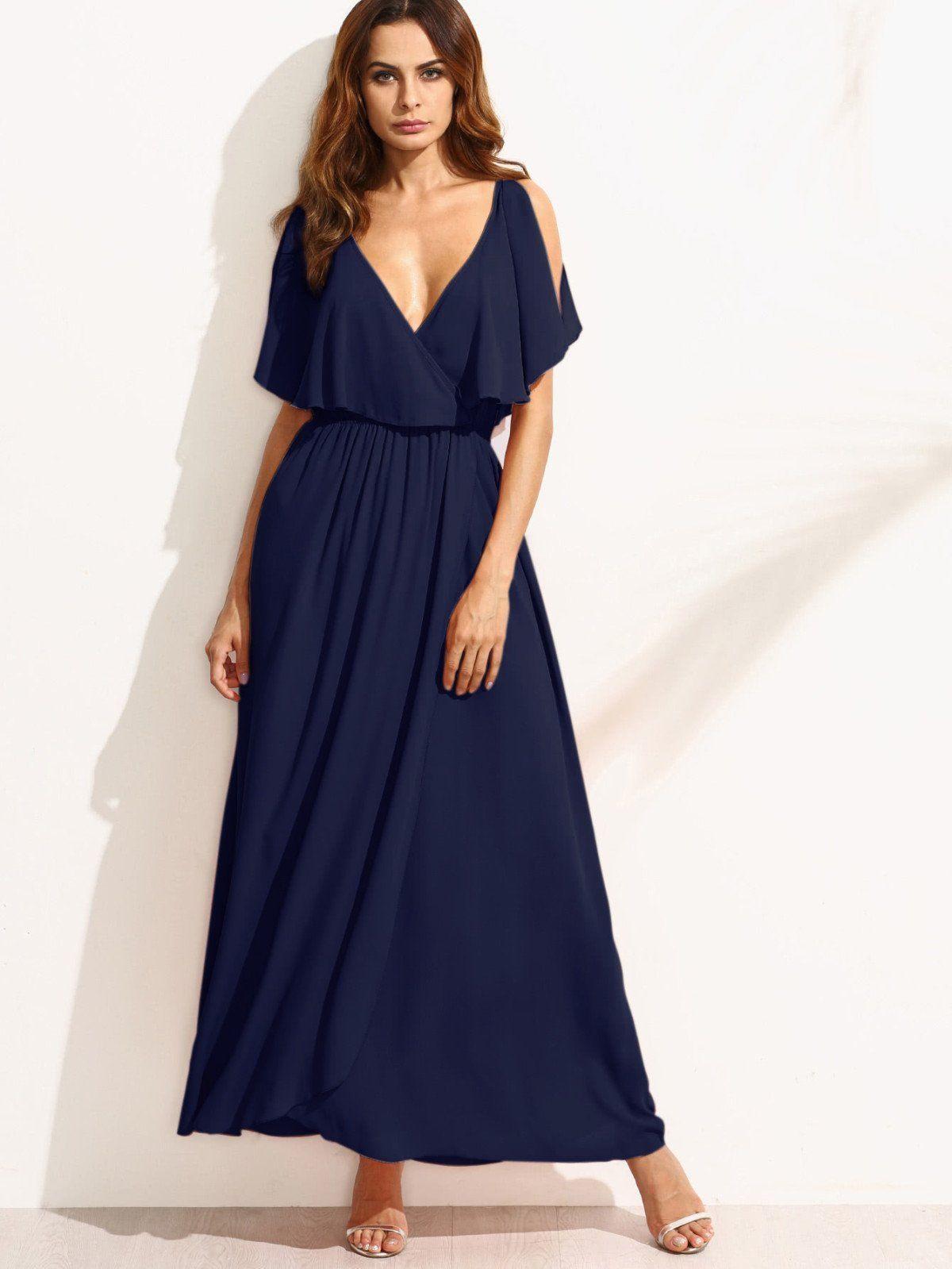 Dresses by borntowear surplice front split cape dress dresses