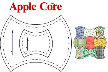 "One-Derful One Patch Apple Core Templates - Apple Core is a traditional one-patch quilt pattern. Nested template set consists of two templates for cutting 2-1/2"" and 6"" Apple Cores. $12.00"